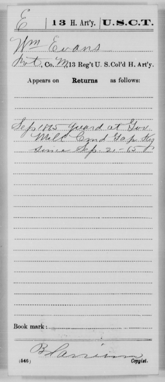 Evans, Wm - Age [Blank], Year: 1865 - 13th US Colored Heavy Artillery, Misc Cards - United States Colored Troops: Artillery Organizations