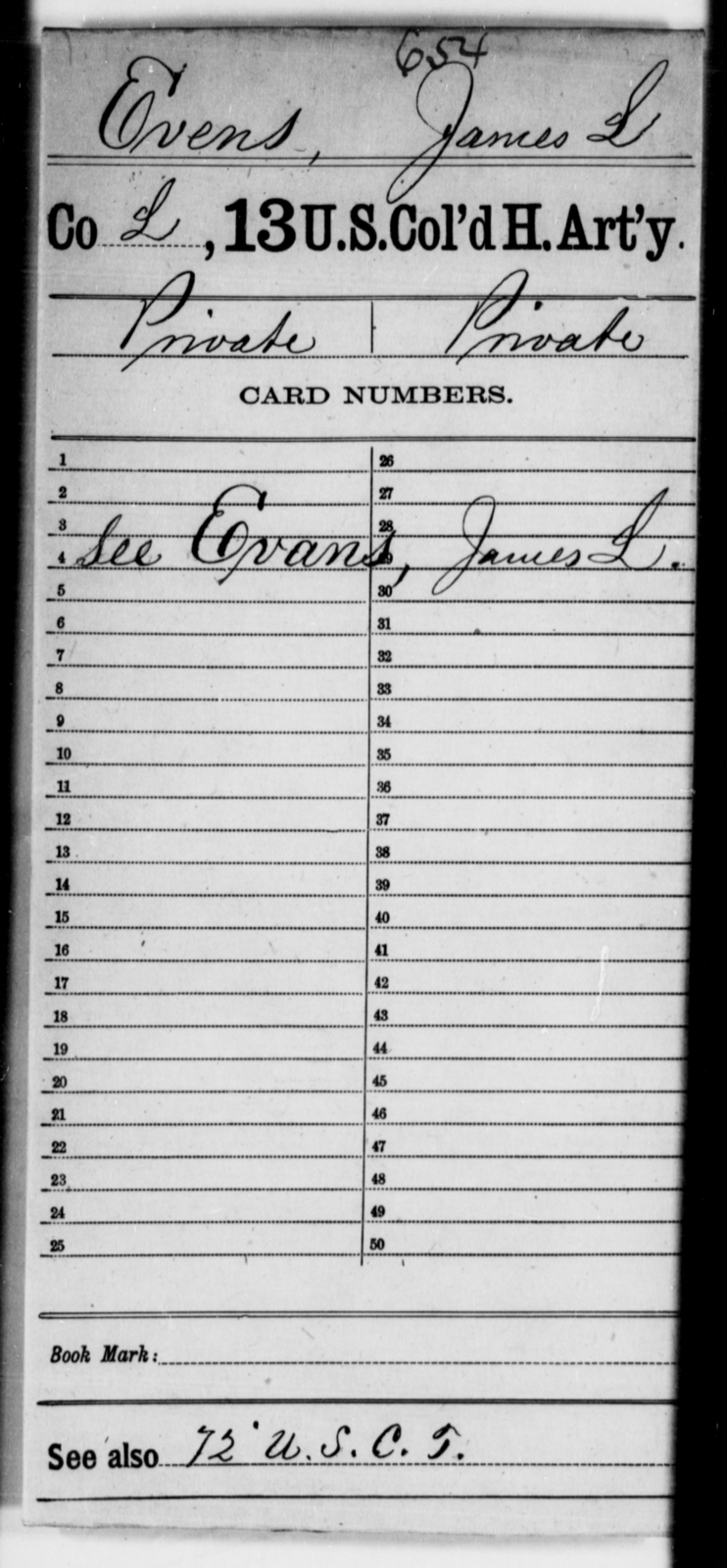 Evens, James L - Age [Blank], Year: [Blank] - 13th US Colored Heavy Artillery - United States Colored Troops: Artillery Organizations