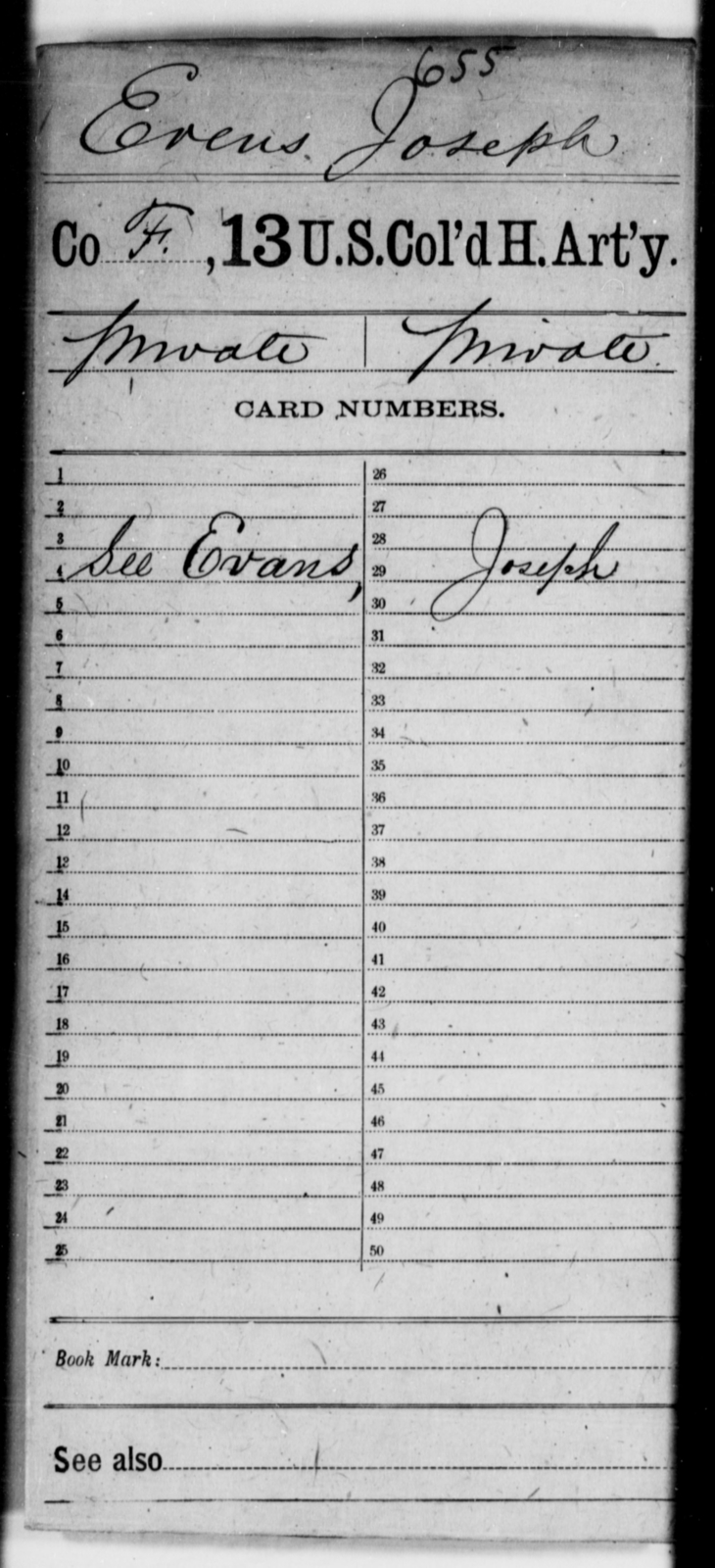 Evens, Joseph - Age [Blank], Year: [Blank] - 13th US Colored Heavy Artillery - United States Colored Troops: Artillery Organizations