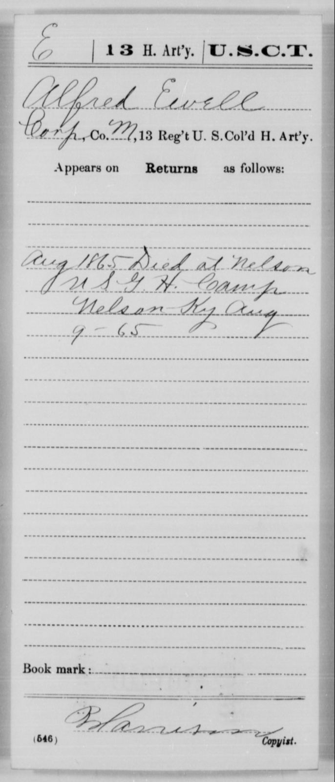 Ewell, Alfred - Age [Blank], Year: 1865 - 13th US Colored Heavy Artillery, Misc Cards - United States Colored Troops: Artillery Organizations