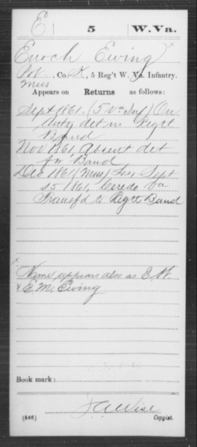 Ewing, Enoch - Age [Blank], Year: 1861 - Miscellaneous Card Abstracts of Records - West Virginia