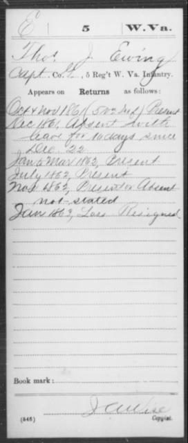 Ewing, Thos J - Age [Blank], Year: 1861 - Miscellaneous Card Abstracts of Records - West Virginia