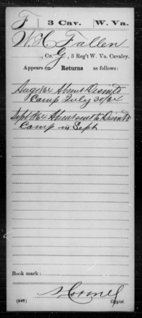 Fallen, W H - Age [Blank], Year: 1864 - Miscellaneous Card Abstracts of Records - West Virginia