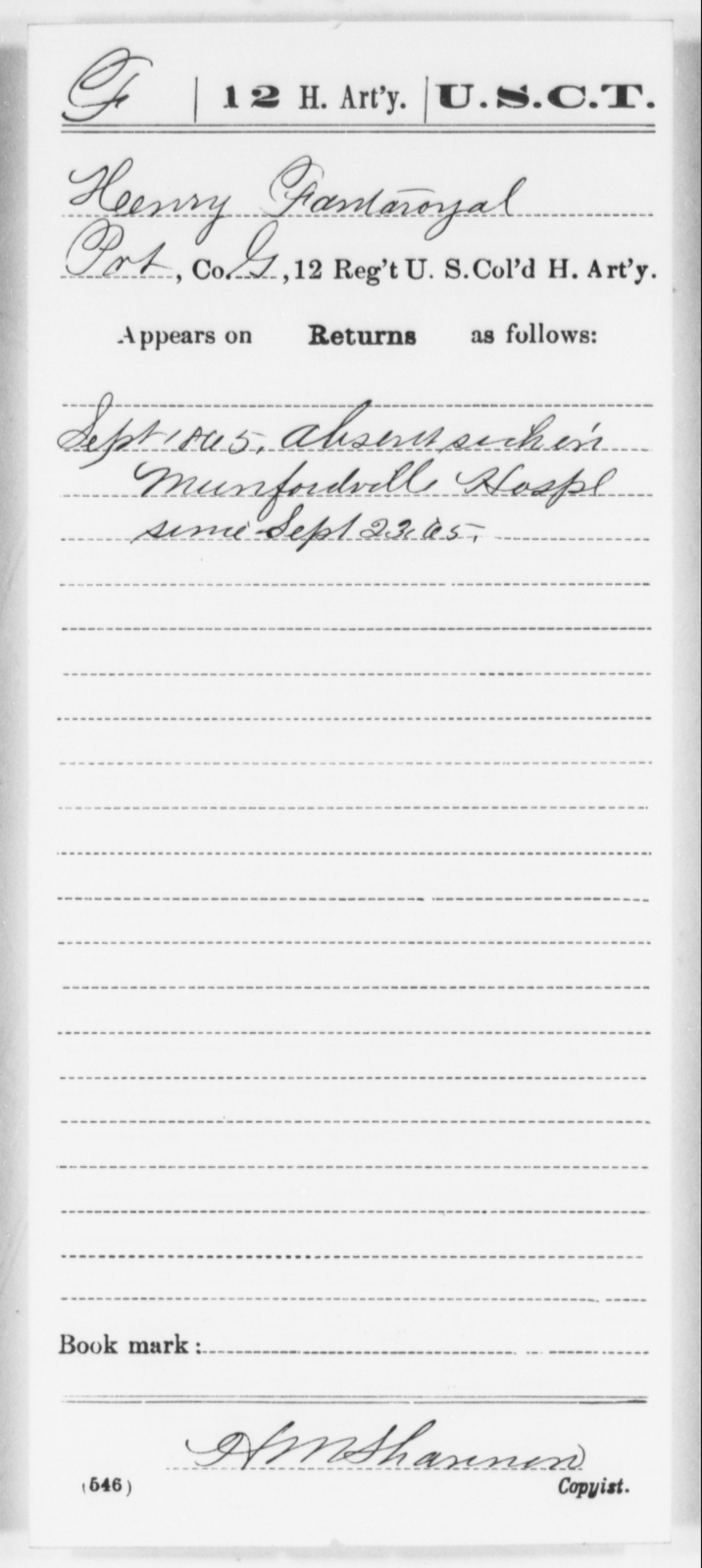 Fantaroyal, Henry - Age [Blank], Year: 1865 - 12th US Colored Heavy Artillery, Wo-Y AND Misc Cards, B-H - United States Colored Troops: Artillery Organizations