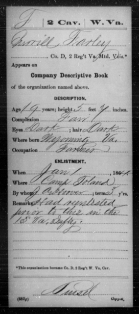 Farley, Merrill - Age 19, Year: 1864 - Miscellaneous Card Abstracts of Records - West Virginia