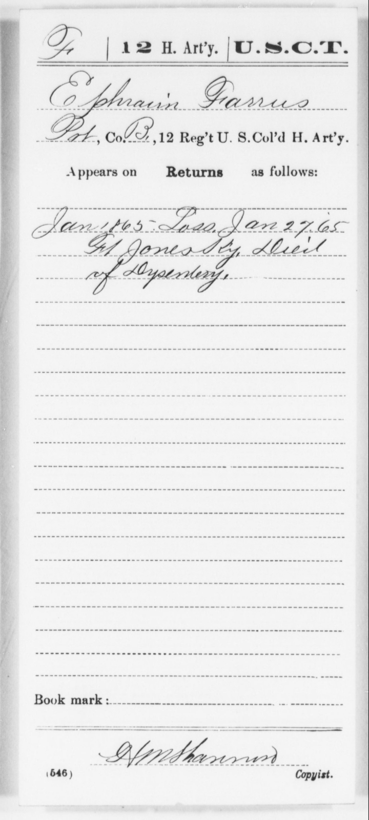 Farrus, Ephraim - Age [Blank], Year: 1865 - 12th US Colored Heavy Artillery, Wo-Y AND Misc Cards, B-H - United States Colored Troops: Artillery Organizations