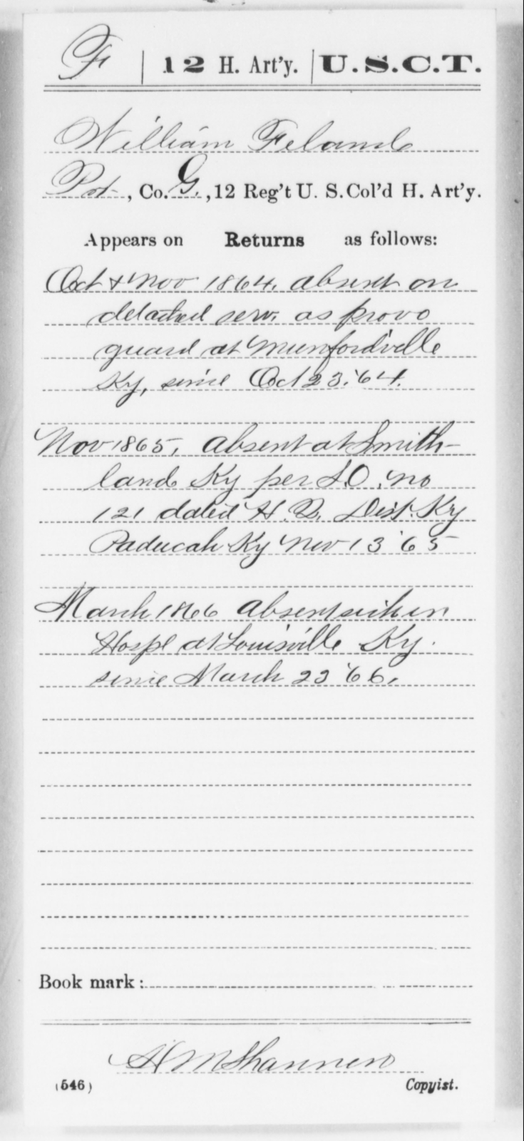 Feland, William W - Age [Blank], Year: 1864 - 12th US Colored Heavy Artillery, Wo-Y AND Misc Cards, B-H - United States Colored Troops: Artillery Organizations