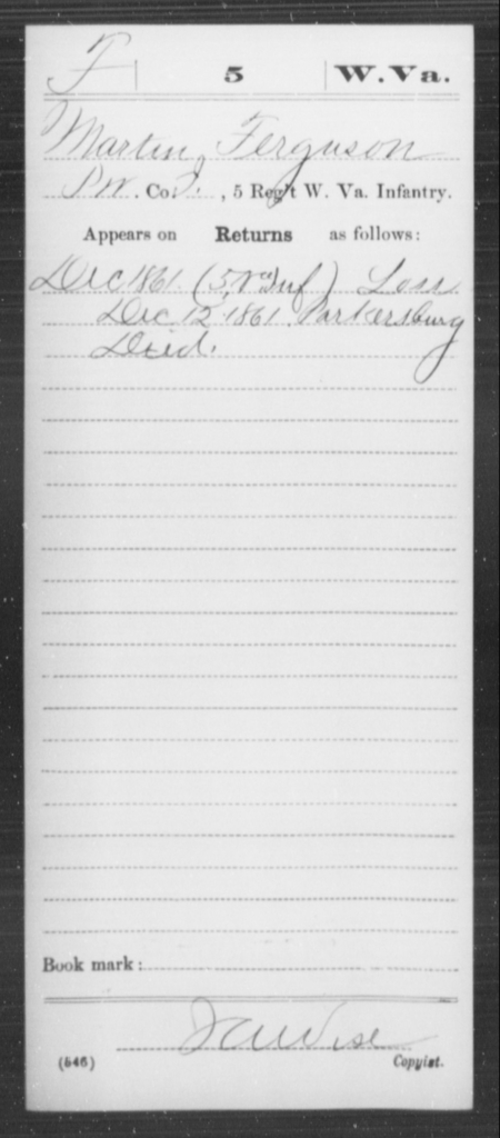 Ferguson, Martin - Age [Blank], Year: 1861 - Miscellaneous Card Abstracts of Records - West Virginia