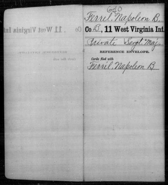 Ferrel, Napoleon B - Age [Blank], Year: [Blank] - Eleventh Infantry - West Virginia