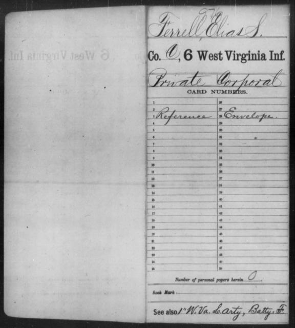 Ferrell, Elias S - Age [Blank], Year: [Blank] - Sixth Infantry - West Virginia