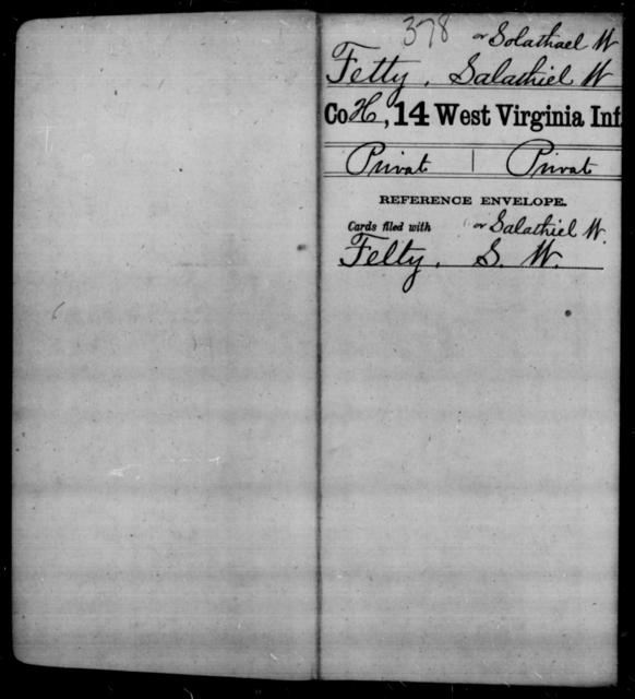 Fetty, Salathiel W - Age [Blank], Year: [Blank] - Fourteenth Infantry, C-Z - West Virginia