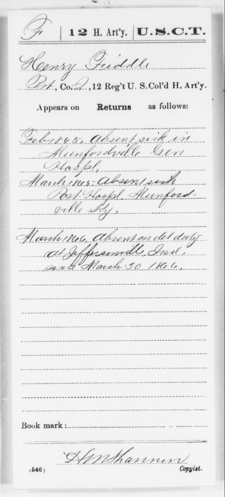 Fiddle, Henry - Age [Blank], Year: 1865 - 12th US Colored Heavy Artillery, Wo-Y AND Misc Cards, B-H - United States Colored Troops: Artillery Organizations