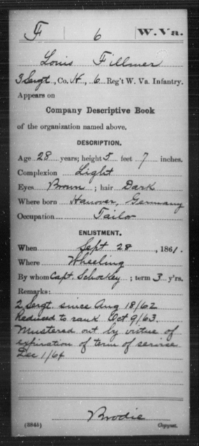Fillmer, Louis - Age 28, Year: 1861 - Miscellaneous Card Abstracts of Records - West Virginia