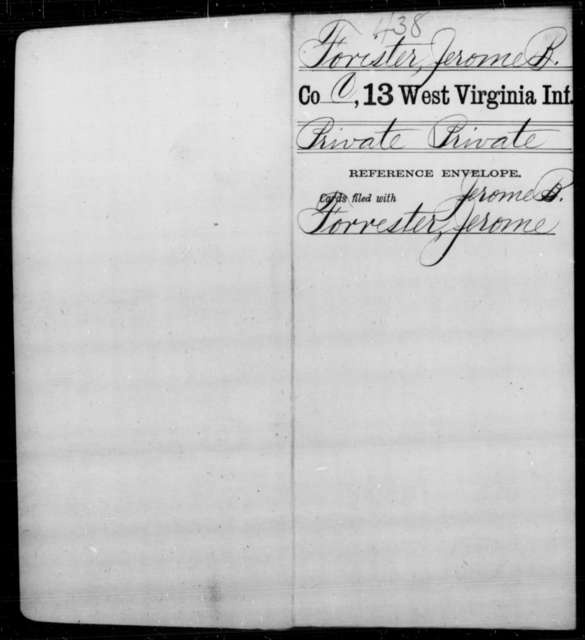 Fister, Jerome B - Age [Blank], Year: [Blank] - Thirteenth Infantry, A-W - West Virginia