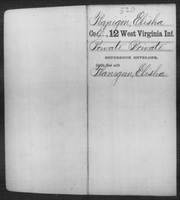 Flanigin, Elisha - Age [Blank], Year: [Blank] - Twelfth Infantry - West Virginia