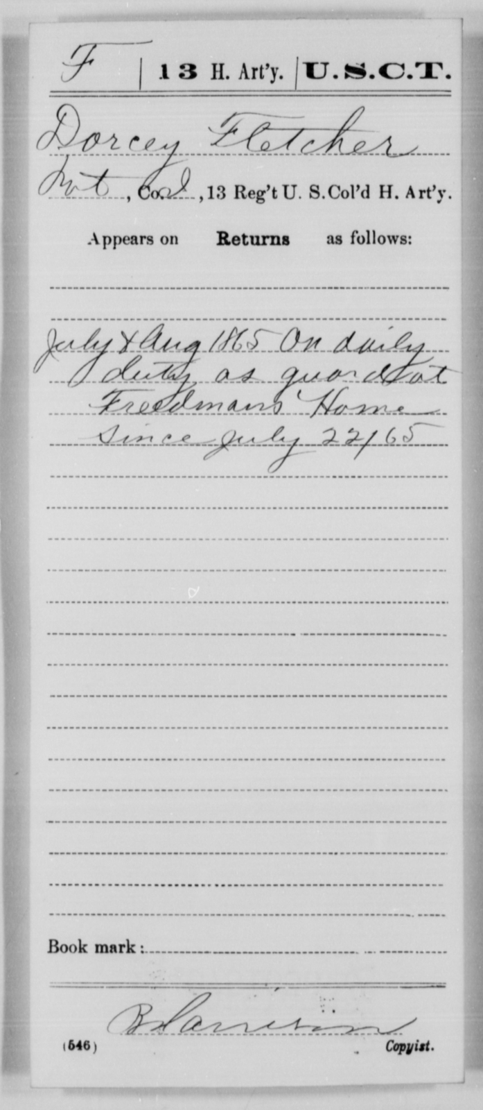 Fletcher, Dorcey - Age [Blank], Year: 1865 - 13th US Colored Heavy Artillery, Misc Cards - United States Colored Troops: Artillery Organizations