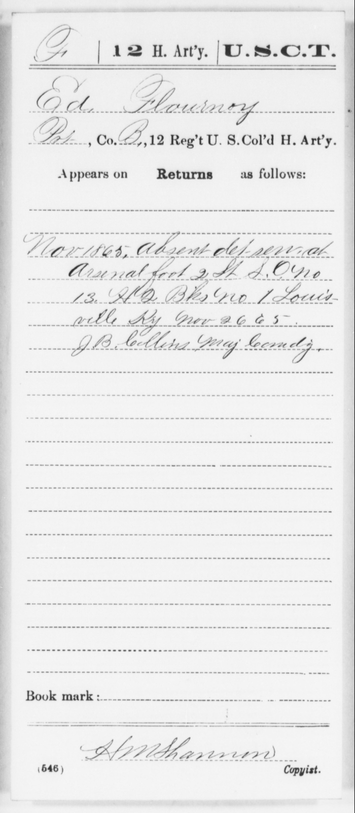 Flournoy, Ed - Age [Blank], Year: 1865 - 12th US Colored Heavy Artillery, Wo-Y AND Misc Cards, B-H - United States Colored Troops: Artillery Organizations