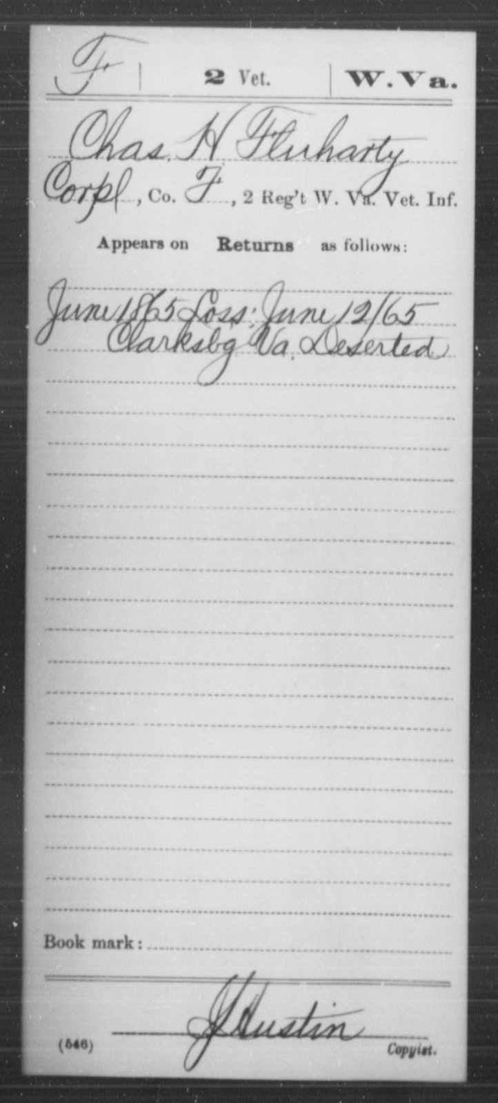 Fluharty, Chas H - Age [Blank], Year: 1865 - Miscellaneous Card Abstracts of Records - West Virginia