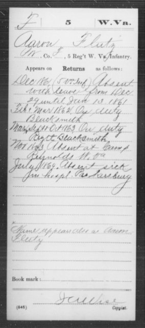 Flutz, Aaron - Age [Blank], Year: 1861 - Miscellaneous Card Abstracts of Records - West Virginia