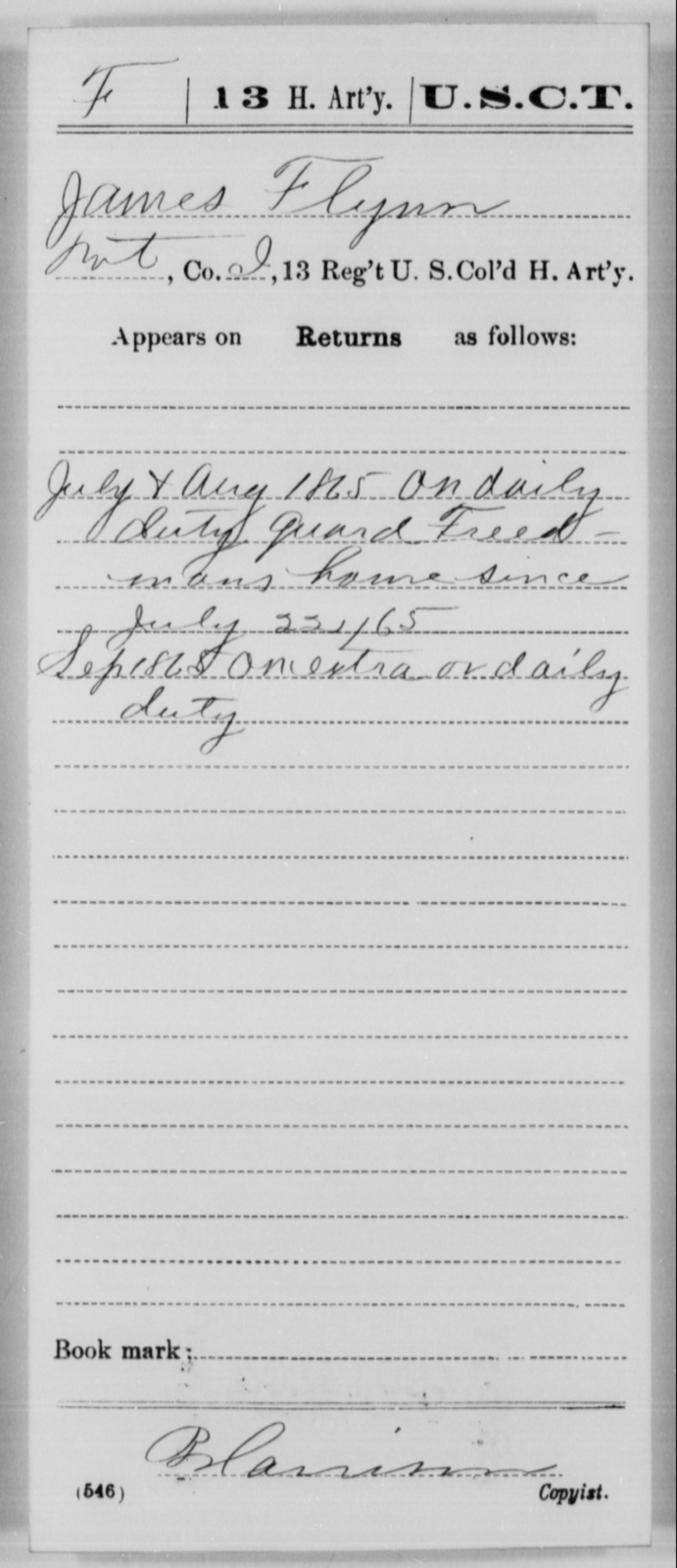 Flynn, James - Age [Blank], Year: 1865 - 13th US Colored Heavy Artillery, Misc Cards - United States Colored Troops: Artillery Organizations