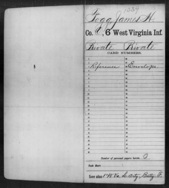 Fogg, James H - Age [Blank], Year: [Blank] - Sixth Infantry - West Virginia