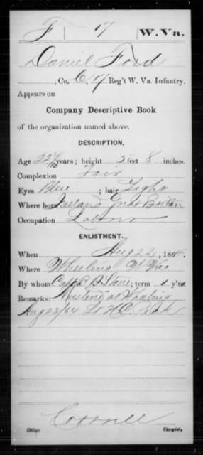 Ford, Daniel - Age 22, Year: 1864 - Miscellaneous Card Abstracts of Records - West Virginia