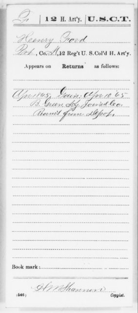 Ford, Henry - Age [Blank], Year: 1865 - 12th US Colored Heavy Artillery, Wo-Y AND Misc Cards, B-H - United States Colored Troops: Artillery Organizations