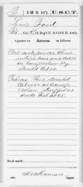 Ford, Lewis - Age [Blank], Year: 1864 - 12th US Colored Heavy Artillery, Wo-Y AND Misc Cards, B-H - United States Colored Troops: Artillery Organizations