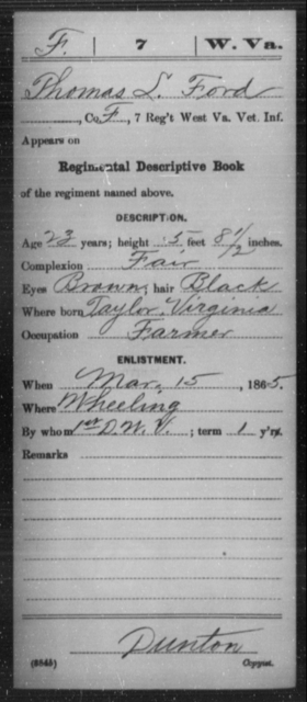 Ford, Thomas L - Age 23, Year: 1865 - Miscellaneous Card Abstracts of Records - West Virginia