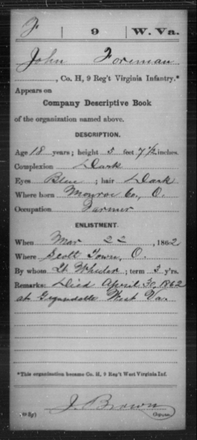 Foreman, John - Age 18, Year: 1862 - Miscellaneous Card Abstracts of Records - West Virginia
