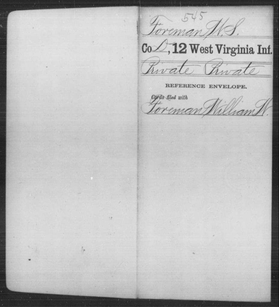 Foreman, W S - Age [Blank], Year: [Blank] - Twelfth Infantry - West Virginia
