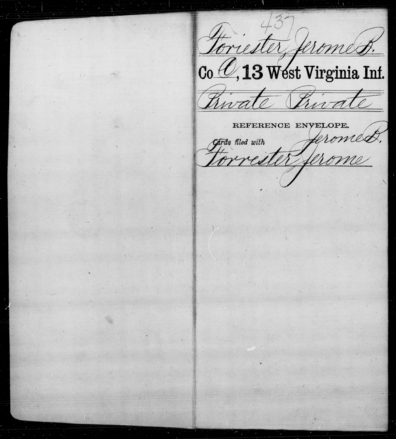Foriester, Jerome B - Age [Blank], Year: [Blank] - Thirteenth Infantry, A-W - West Virginia