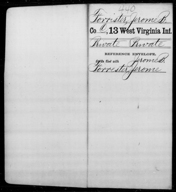 Forrister, Jerome B - Age [Blank], Year: [Blank] - Thirteenth Infantry, A-W - West Virginia