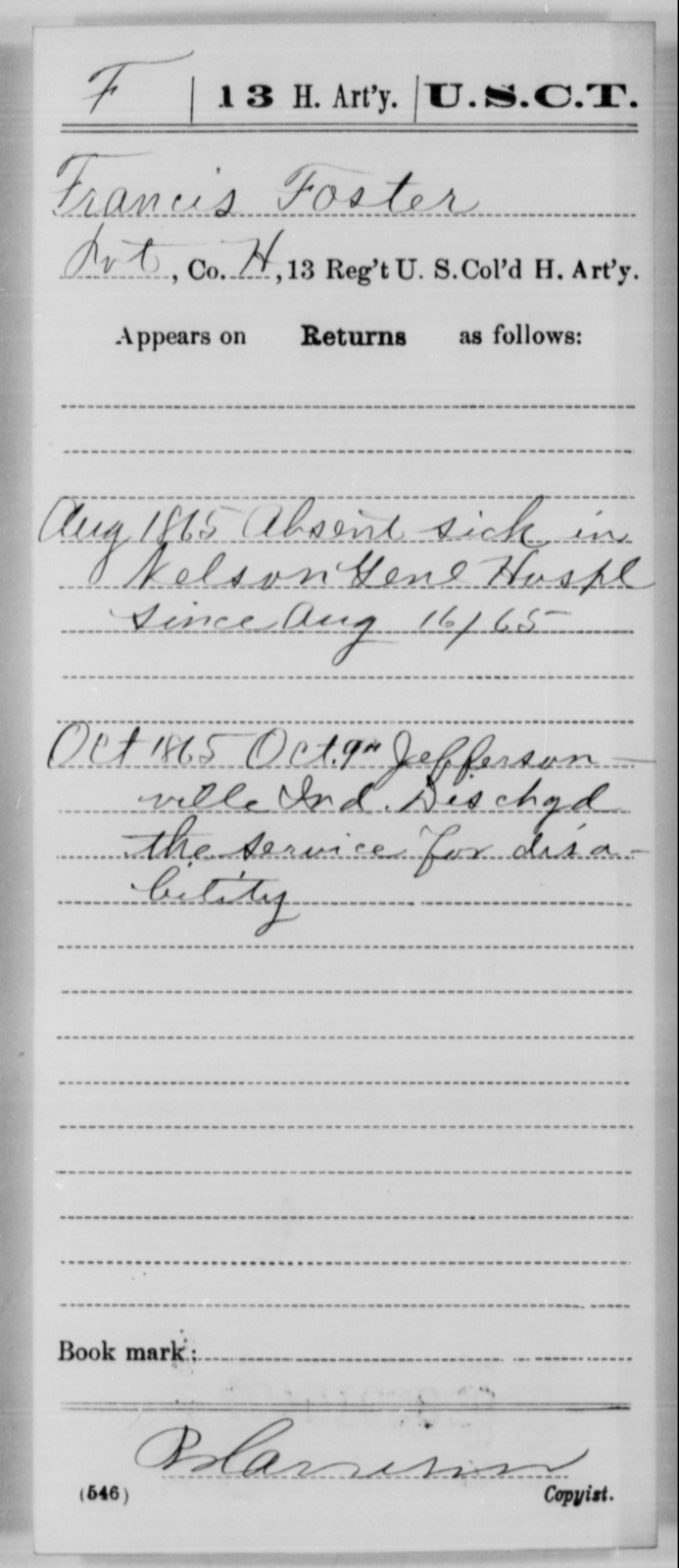 Foster, Francis - Age [Blank], Year: 1865 - 13th US Colored Heavy Artillery, Misc Cards - United States Colored Troops: Artillery Organizations