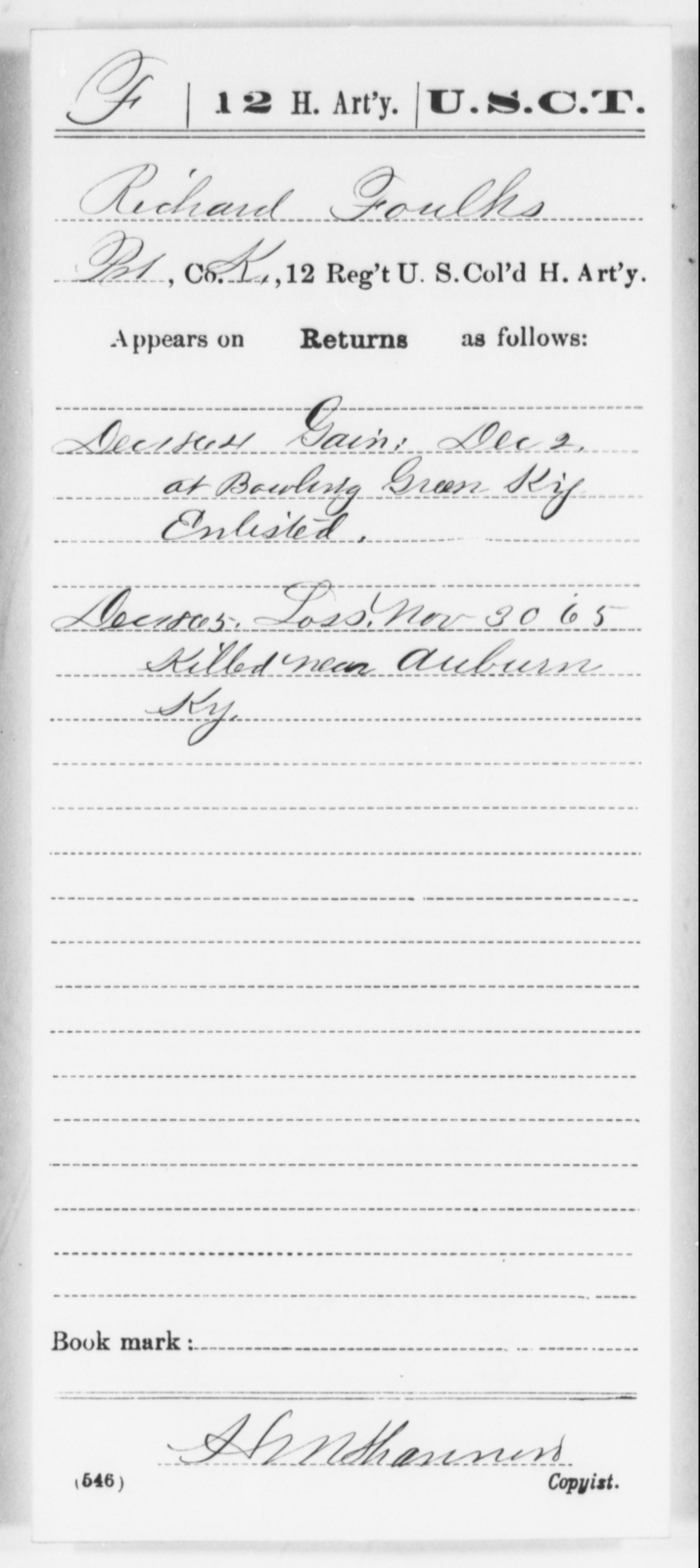 Foulks, Richard - Age [Blank], Year: 1864 - 12th US Colored Heavy Artillery, Wo-Y AND Misc Cards, B-H - United States Colored Troops: Artillery Organizations