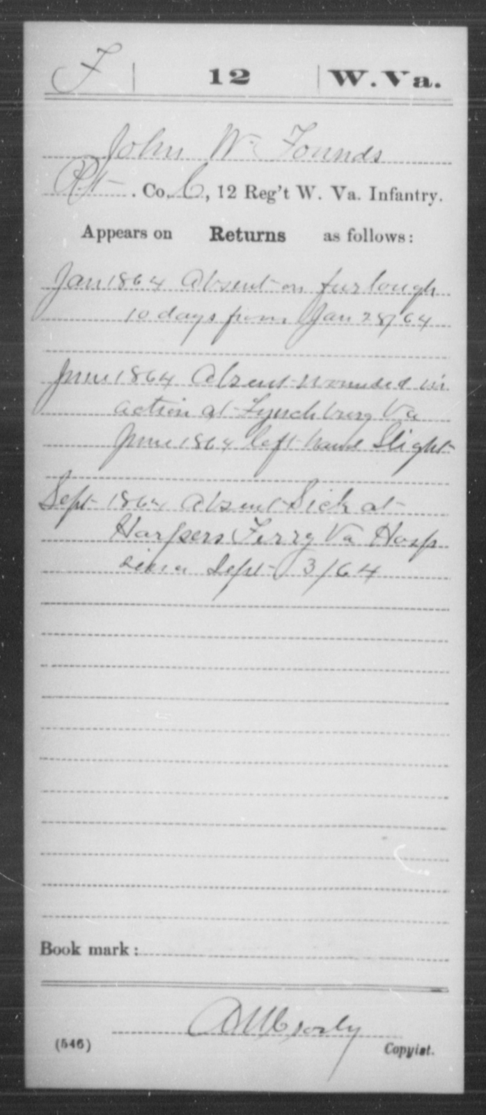Founds, John W - Age [Blank], Year: 1864 - Miscellaneous Card Abstracts of Records - West Virginia
