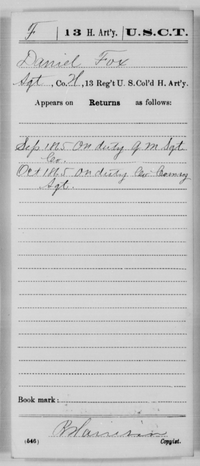 Fox, Daniel - Age [Blank], Year: 1865 - 13th US Colored Heavy Artillery, Misc Cards - United States Colored Troops: Artillery Organizations