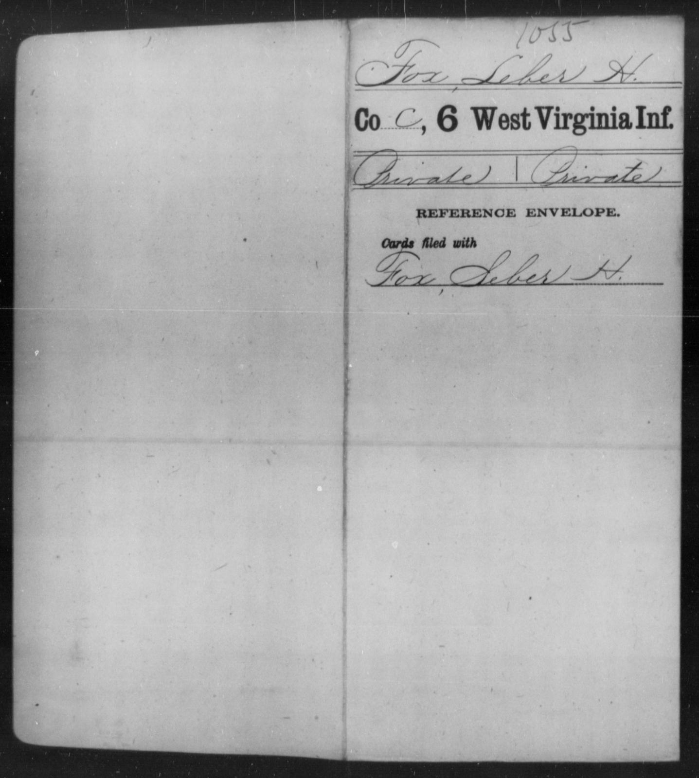 Fox, Leber H - Age [Blank], Year: [Blank] - Sixth Infantry - West Virginia