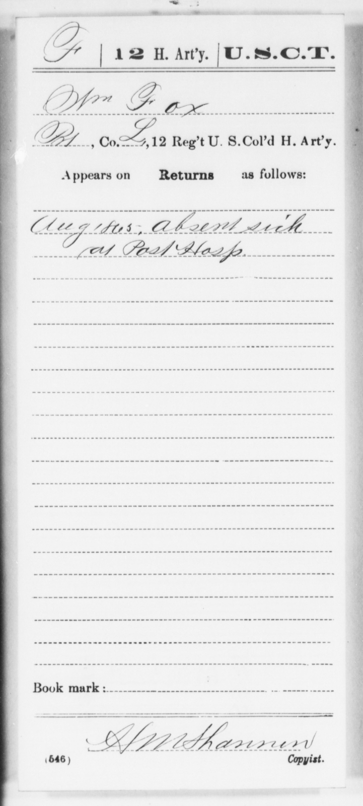 Fox, Wm - Age [Blank], Year: 1865 - 12th US Colored Heavy Artillery, Wo-Y AND Misc Cards, B-H - United States Colored Troops: Artillery Organizations