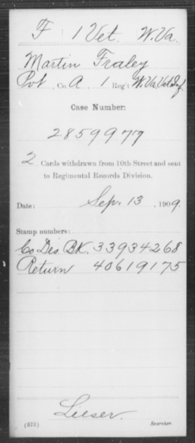 Fraley, Martin - Age [Blank], Year: [Blank] - Miscellaneous Card Abstracts of Records - West Virginia