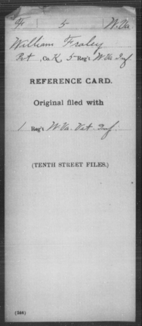 Fraley, William - Age [Blank], Year: [Blank] - Miscellaneous Card Abstracts of Records - West Virginia