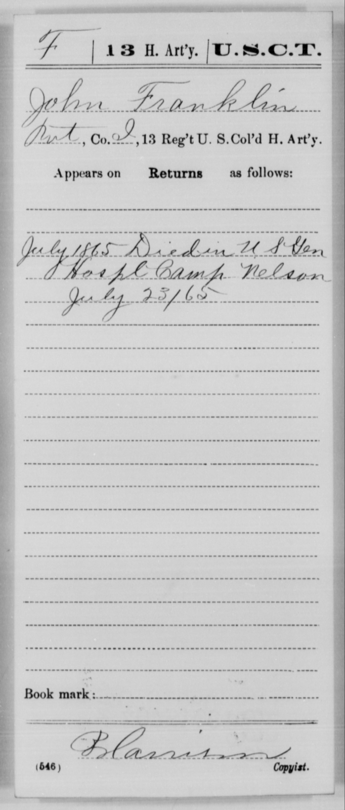 Franklin, John - Age [Blank], Year: 1865 - 13th US Colored Heavy Artillery, Misc Cards - United States Colored Troops: Artillery Organizations