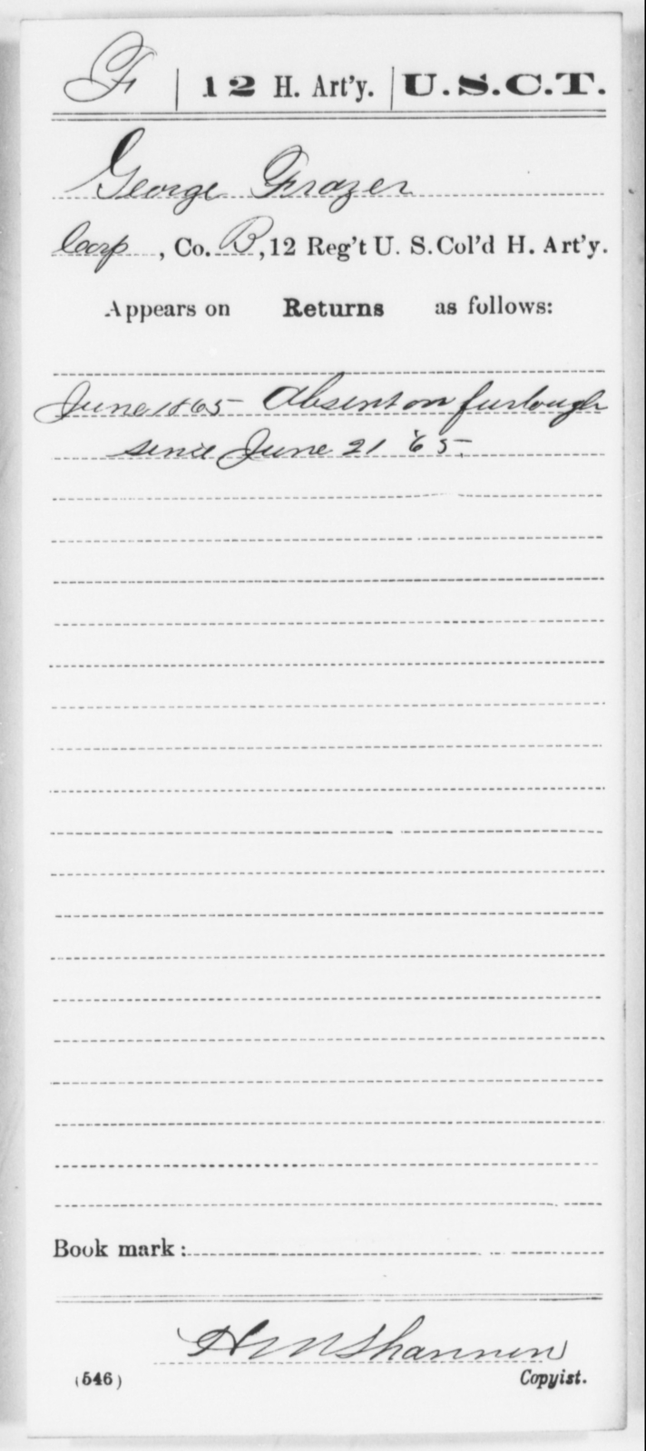 Frazer, George - Age [Blank], Year: 1865 - 12th US Colored Heavy Artillery, Wo-Y AND Misc Cards, B-H - United States Colored Troops: Artillery Organizations