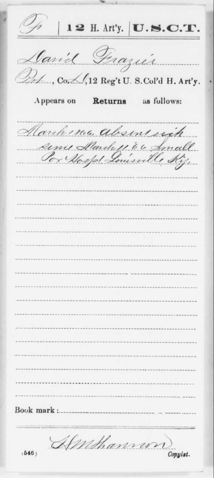 Frazier, David - Age [Blank], Year: [Blank] - 12th US Colored Heavy Artillery, Wo-Y AND Misc Cards, B-H - United States Colored Troops: Artillery Organizations