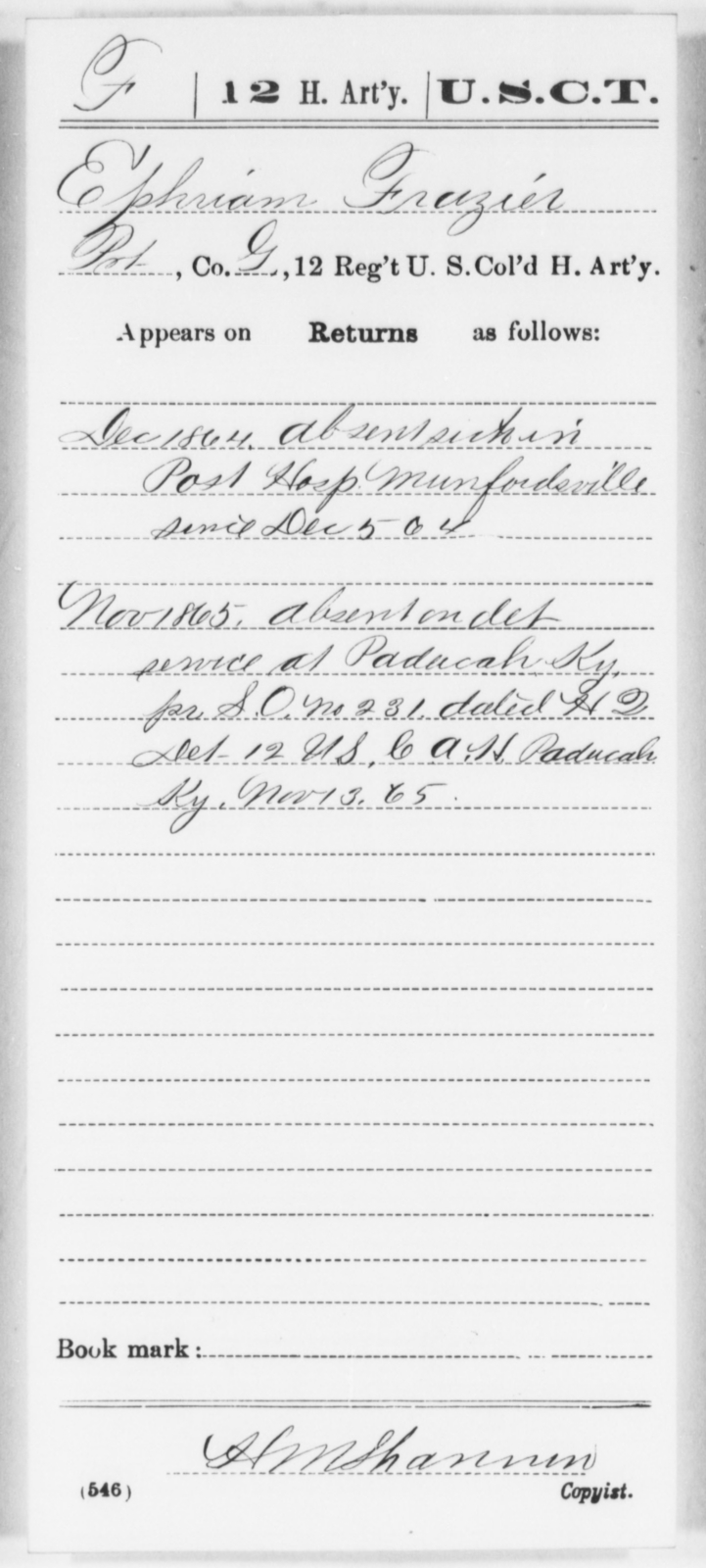 Frazier, Ephraim - Age [Blank], Year: 1864 - 12th US Colored Heavy Artillery, Wo-Y AND Misc Cards, B-H - United States Colored Troops: Artillery Organizations