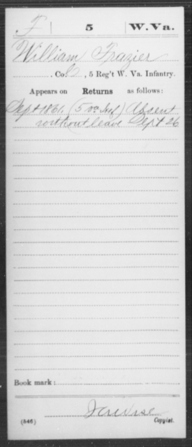 Frazier, William - Age [Blank], Year: 1861 - Miscellaneous Card Abstracts of Records - West Virginia