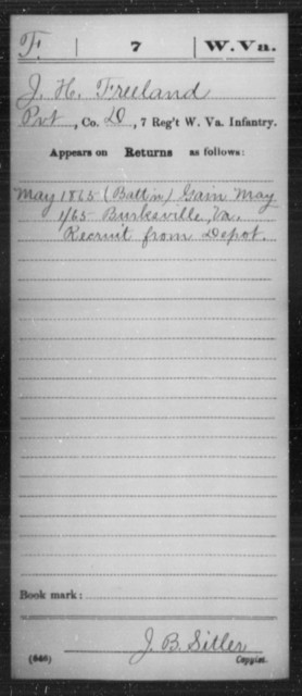Freeland, J H - Age [Blank], Year: 1865 - Miscellaneous Card Abstracts of Records - West Virginia