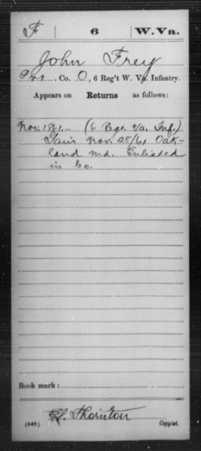Frey, John - Age [Blank], Year: 1861 - Miscellaneous Card Abstracts of Records - West Virginia