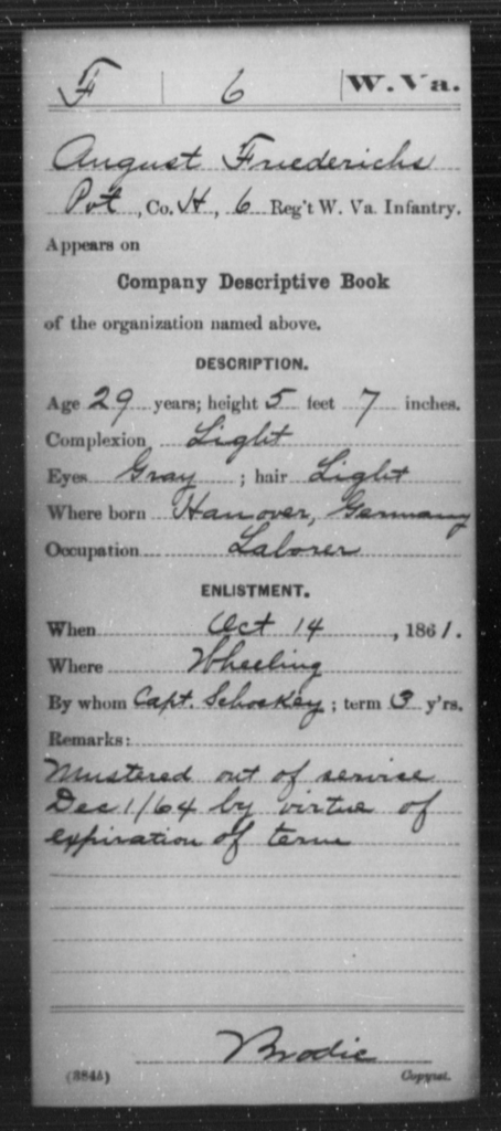 Friedericks, August - Age 29, Year: 1861 - Miscellaneous Card Abstracts of Records - West Virginia