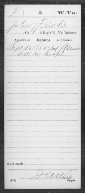 Frisbie, John - Age [Blank], Year: 1861 - Miscellaneous Card Abstracts of Records - West Virginia